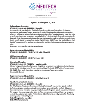 Agenda   The MedTech Conference